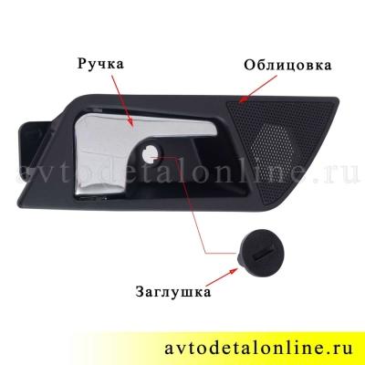 Установка правой ручки двери внутренней УАЗ Патриот 3163-6105180 в сборе, замена 3162-6105180, фото
