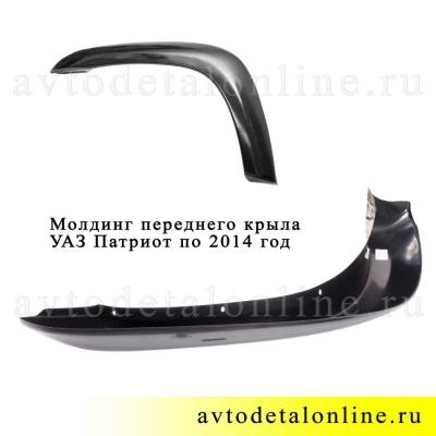 Размеры накладки-молдинга крыла УАЗ Патриот по 2014 год, левый, 3163-8212051