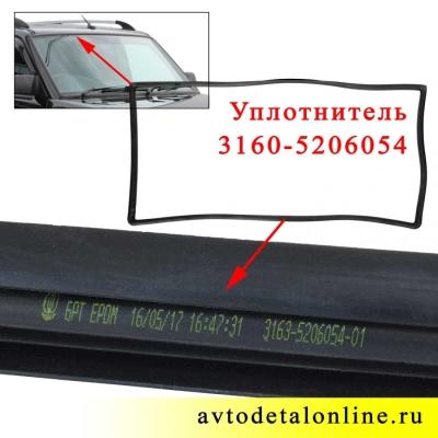 Маркировка уплотнителя ветрового стекла УАЗ Патриот, каталожный номер 3160-5206054