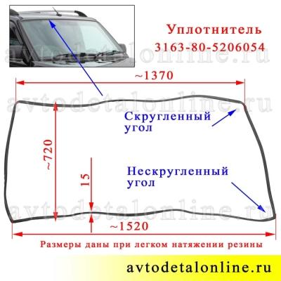 На фото размер уплотнителя лобового стекла УАЗ Патриот 3163, окантовка с каталожным номером 3163-80-5206054
