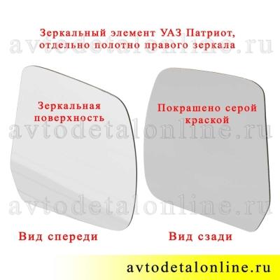 Зеркальный элемент УАЗ Патриот для правого бокового зеркала заднего вида, полотно отдельно