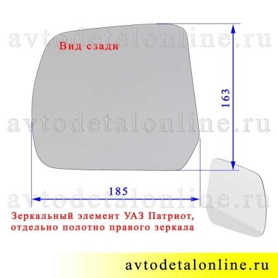 Размер полотна зеркального элемента УАЗ Патриот  для правого бокового зеркала заднего вида