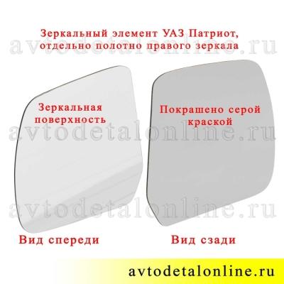 Зеркальный элемент УАЗ Патриот для левого бокового зеркала заднего вида, полотно отдельно