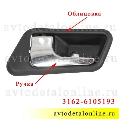 Облицовка внутренней ручки двери УАЗ Патриот 3162-6105193 левая накладка на обшивку в сборе с ручкой