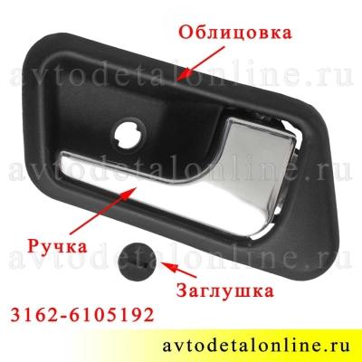 Ручка и внутренняя облицовка ручки двери УАЗ Патриот до 2015 года, правая накладка на обшивку, 3162-6105192