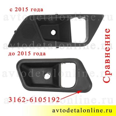 Сравнение внутренних накладок ручки двери УАЗ Патриот до и после рестайлинга 2015 г, правая облицовка обшивки