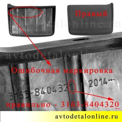 Передний / задний брызговик Патриот УАЗ 3163-8404320, правый фартук, Промтехпласт Балаково