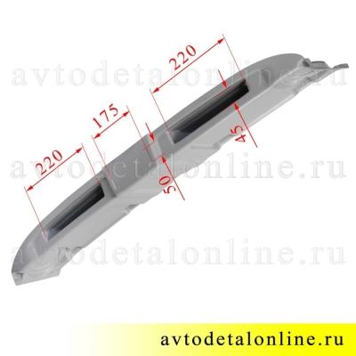 Размеры верхней полки УАЗ 469, Хантер под акустическую систему, магнитолу или рацию, серый АБС пластик