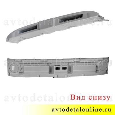 Фото вида снизу верхней акустической полки УАЗ Хантер, 469 под магнитолу или рацию из серого АБС пластика