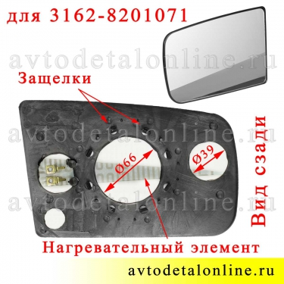 Зеркальный элемент УАЗ Патриот левый 3162-8201071 для бокового зеркала заднего вида, фото вида сзади