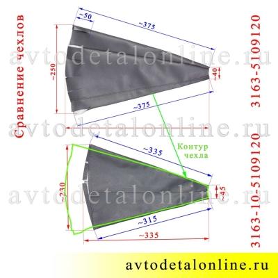 Сравнение чехлов рычагов КПП УАЗ Патриот 31631-5109120 и 3163-5109120