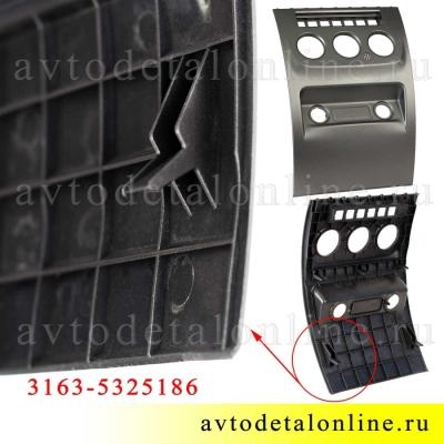 Нижняя панель приборов УАЗ Патриот 3163-5325186, облицовка в центральной консоли управления, фото вида сзади