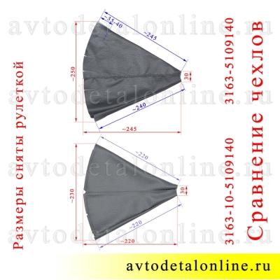 Сравнение чехлов на рычаги раздаточной коробки УАЗ Патриот до 2009 г 3163-5109140 и позже 2009г 31631-5109120