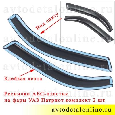 Фото вида снизу реснички на УАЗ Патриот, комплект накладок 2 шт на левую и правую фары, АБС-Пластик