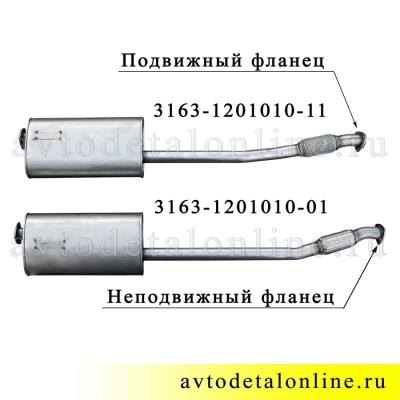 Глушитель УАЗ Патриот, Евро-4,3, нержавейка, с гофрой под электрическую РК, 3163-1201010-11, сравнение на фото