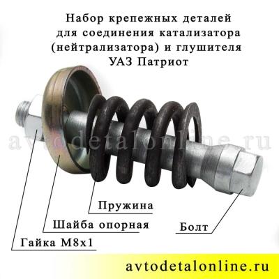 Набор крепления глушителя к катализатору УАЗ Патриот, 31602-1203072 и 31602-1203255-01 и 31602-1203222, фото