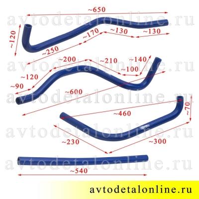 Размеры силиконовых шлангов печки УАЗ Патриот, 31602-8101206, 3163-8110232, 3163-8110231, 31602-20-8110206