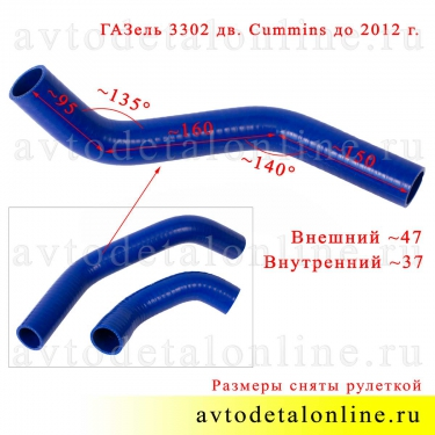 Патрубки радиатора ГАЗель 3302 с дв. Cummins до 2012, силикон Технопартнер, 3302-1303025-40, фото с размером