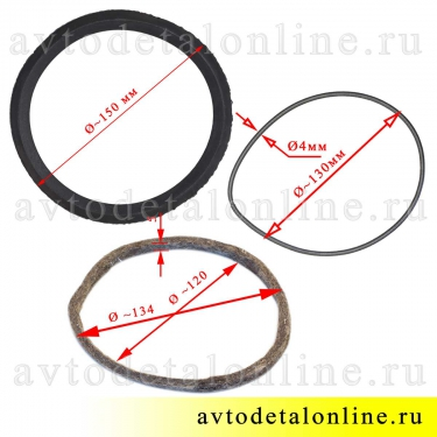 Размер сальника поворотного кулака УАЗ 469 и др. манжета 69-2304052, пружина 69-2304053, войлок 69-2304055