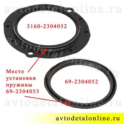 Сравнение сальников поворотного кулака УАЗ 3160-2304052 и 69-2304052 на фото с пружиной 69-2304053