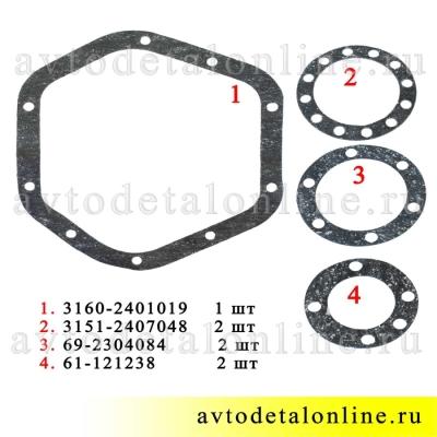 Ремонтный комплект прокладок УАЗ на мост Спайсер 3160-2401019 и 69-2304084 и 61-121238 и 3151-240704, паронит