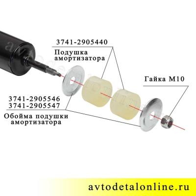 Полиуретановая верхняя втулка на штырь переднего амортизатора УАЗ Патриот, 3741-2905440, фото