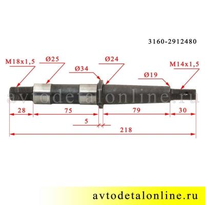 Размер оси рессоры УАЗ 3160-2912480, другое название - палец рессоры