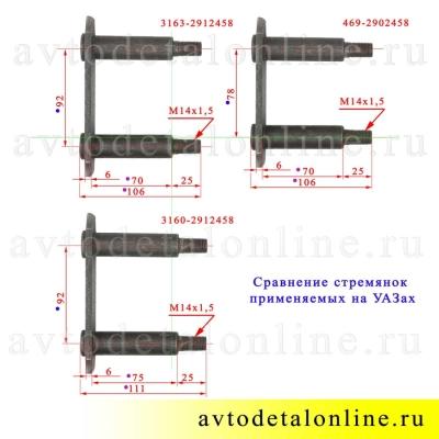 Сравнение размеров щеки серьги на УАЗ 3163, 3160, 469-2902458