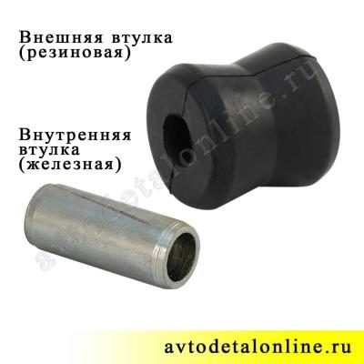 Втулка амортизатора нижняя УАЗ Патриот, Хантер, 3160-2905432 резиновая, замена в передней и задней подвеске