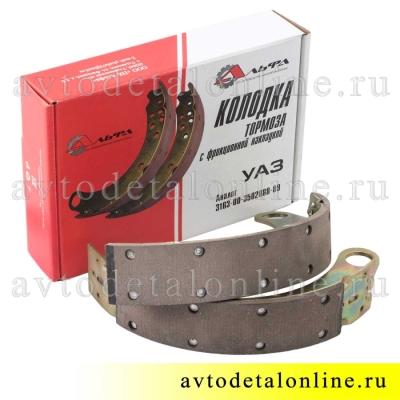 Тормозные колодки задние УАЗ Патриот 2015 нового образца 3163-3502088 и 3163-3502089 в наборе