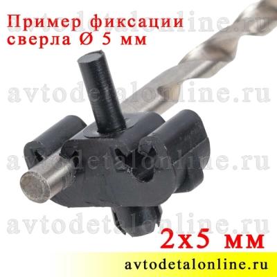Держатель тормозных трубок УАЗ Патриот 3163-3506044, скоба крепления к раме на 2 трубки, пример фиксации