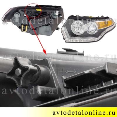 Левая блок фара головного света УАЗ Патриот 2015 нового образца с ДХО, номер 3163-3711011-20