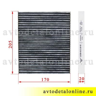 Воздушный угольный салонный фильтр УАЗ Патриот 2016г и позже, 3163-8101140-60, размеры на фото