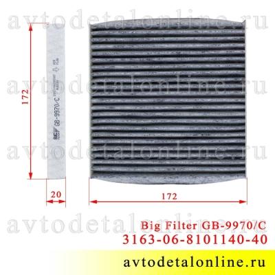 Размер салонного фильтра Патриот УАЗ с июня 2012 г, угольный воздушный GB-9970/С замена 3163-06-8101140-40