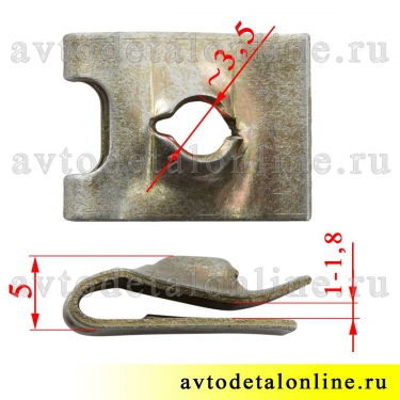 На фото размер гайки фланцевой пружинной под саморез крепления накладок подножки и др УАЗ Патриот 1/41897/76