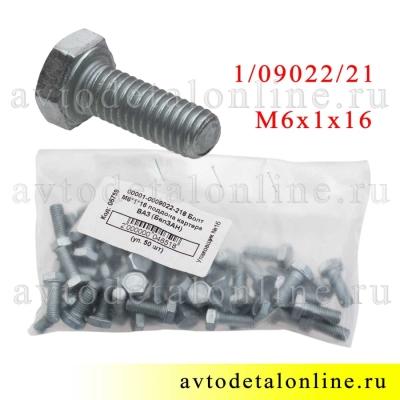 Фото упаковки болтов М6*1*16 номер 1/09022/21 для крепления крыльев УАЗ Патриот и ограничителей дверей