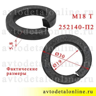 Шайба 18 пружинная Тяжелая, фото с размером гровера 252140-П2