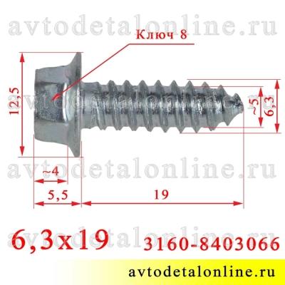 На фото размер самореза 6,3х19 с головкой под ключ 8, для крепления крыла, номер 21080-8403066 и 3160-8403066