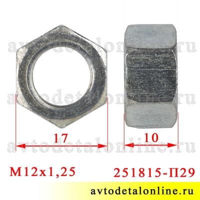 Размер гайки М12х1,25, ключ 17, применяется в головке блока ЗМЗ-402, УМЗ-421, 417 на УАЗ и ГАЗ  251815-П29