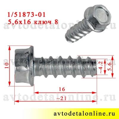 На фото размер самореза 5,6х16 с головкой под ключ 8, каталожный номер 00001-0051873-018