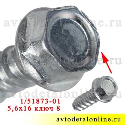 Саморез под ключ 8, размер 5,6*16, каталожный номер 00001-0051873-018 широкое применение