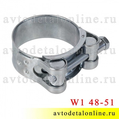 Оцинкованный хомут силовой W1 Robust одноболтовый, диаметр 48-51 мм, Китай