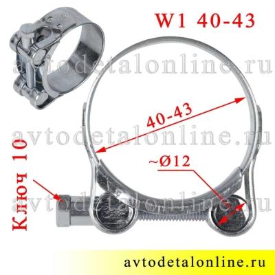 На фото размер хомута силового 40-43 мм одноболтового оцинкованного W1 Robust, Китай
