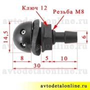 Жиклер омывателя УАЗ Патриот и др, размер форсунки резьбовой, 2-х струйной 3151-5208020 номер 3160-5208020