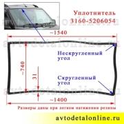 На фото размер уплотнителя лобового стекла УАЗ Патриот 3163, каталожный номер 3160-5206054