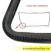Штатный уплотнитель ветрового стекла УАЗ Патриот, каталожный номер резиновой окантовки 31638-5206054