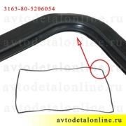 Угол резинового уплотнителя ветрового стекла УАЗ Патриот, каталожный номер окантовки 31638-5206054
