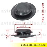 Размер заглушки отверстия пола УАЗ Хантер, Буханка, Патриот, 469-5101290, резина