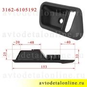 Размер накладки внутренней ручки двери УАЗ Патриот 3162-6105192 правой облицовки обшивки