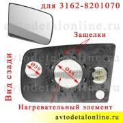 Зеркальный элемент УАЗ Патриот правый 3162-8201070 для бокового зеркала заднего вида, фото вида сзади